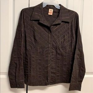 Faded Glory Blouse Size XL Tie Back